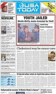 Back to the Future USE Today Newspaper