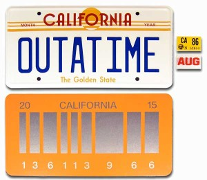 OUTATIME and 2015 Delorean License Plate